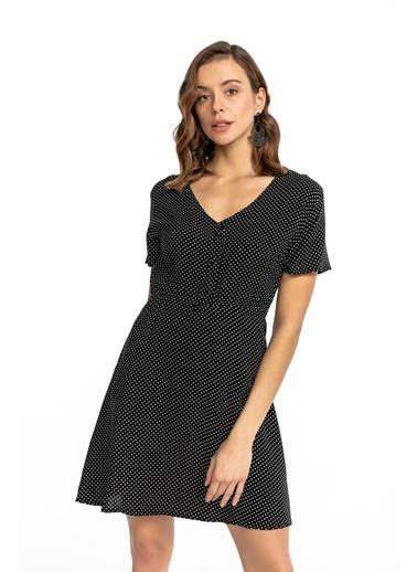 Tiffany&Tomato Dügmeli Puantiyeli Elbise Siyah
